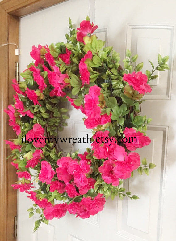 Add Warmth to Your Door with a Bright Azalea Wreath