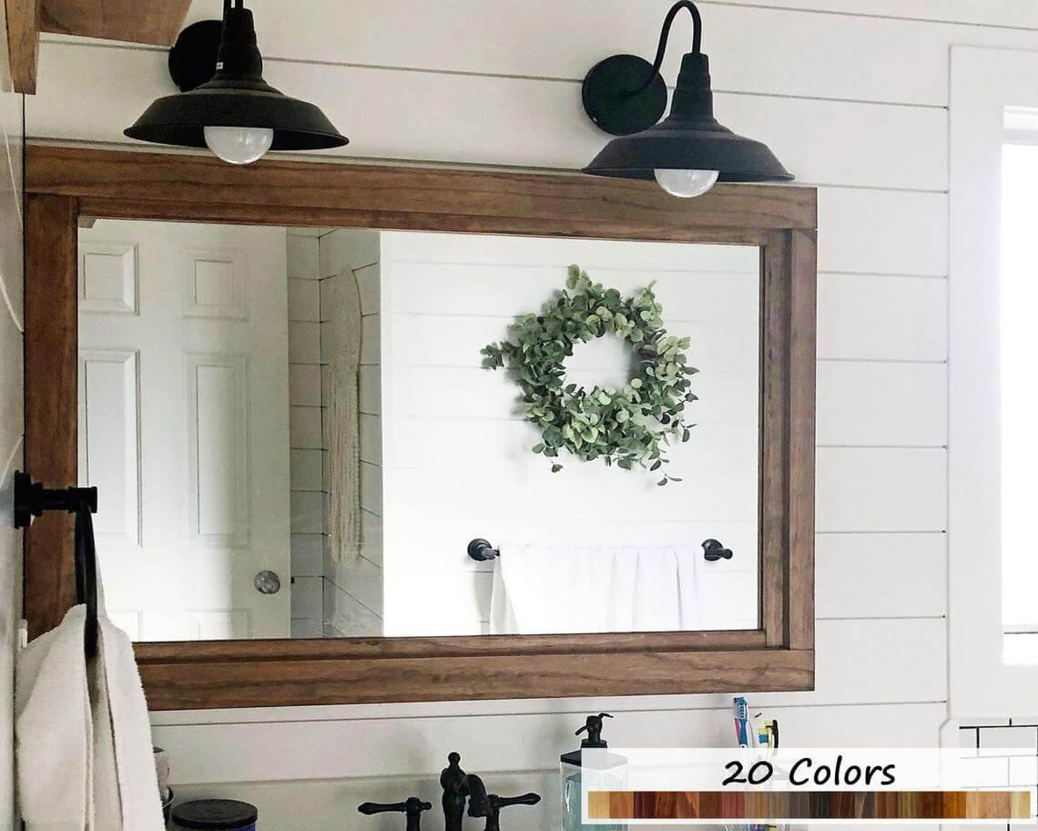 Double Layer Wooden Trim Vanity Mirror