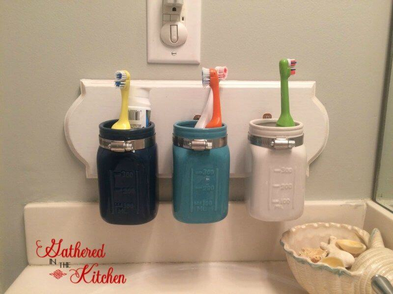 Custom Painted Mason Jar Toothbrush Storage