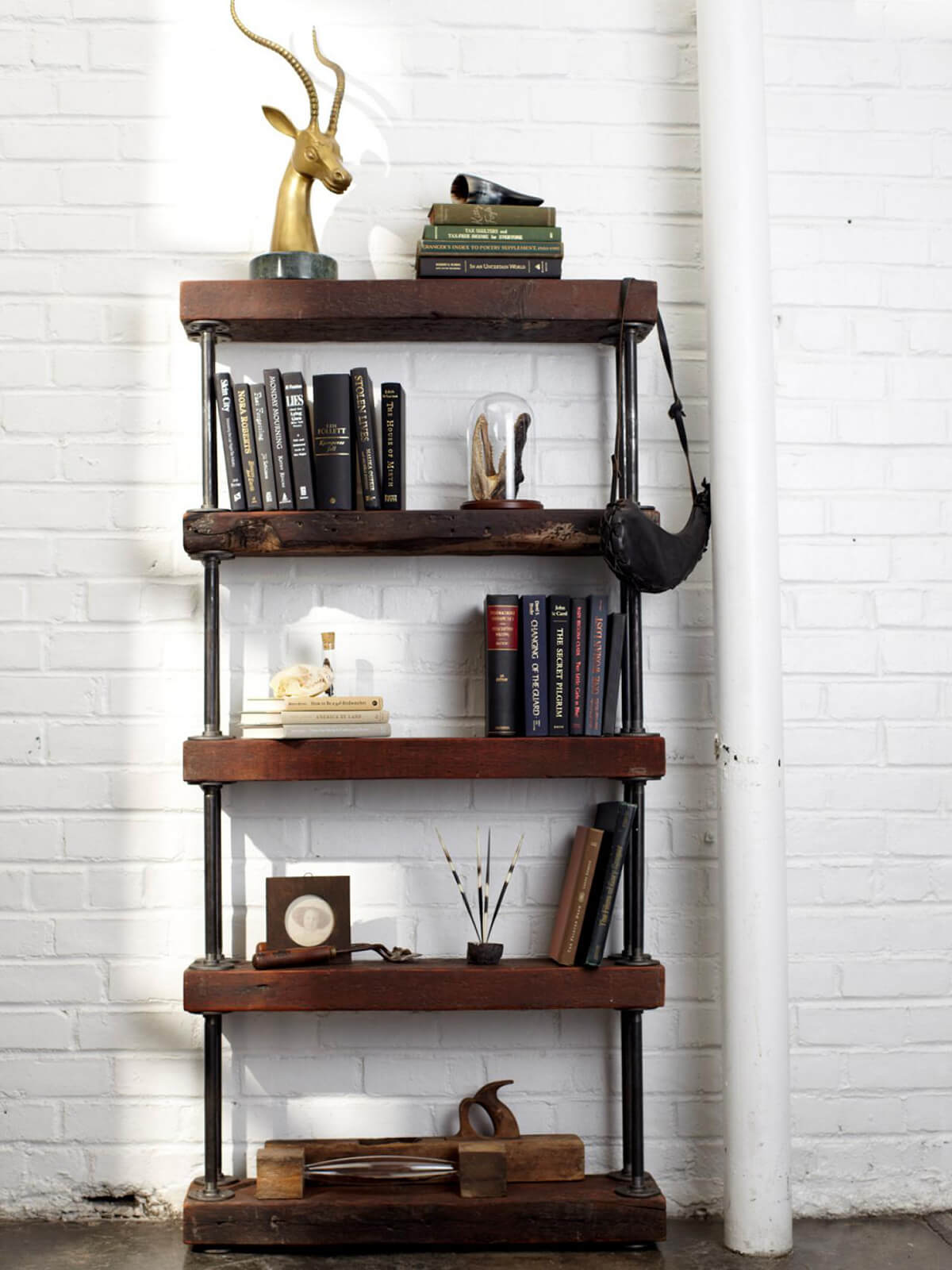 White Brick with Pipe and Wooden Shelf