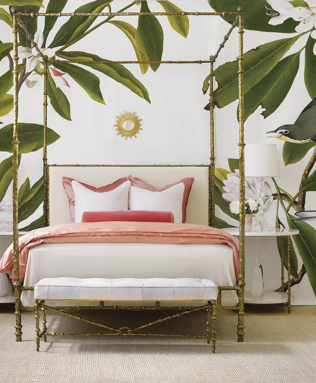 Golden Canopy Bed with Oversized Leaves