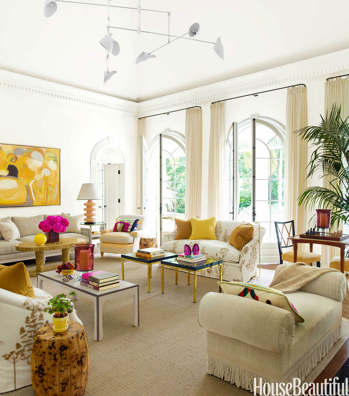Beige Living Room with Yellow and Magenta Accents