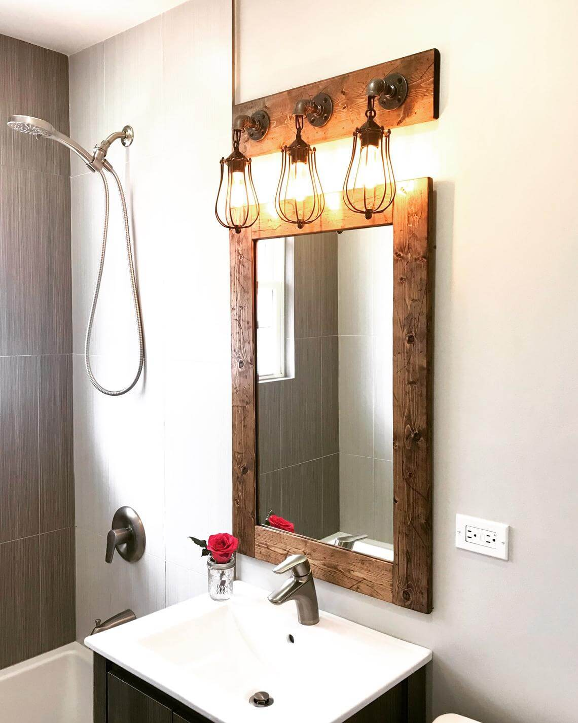 Slim and Straight Rustic Wooden Mirror
