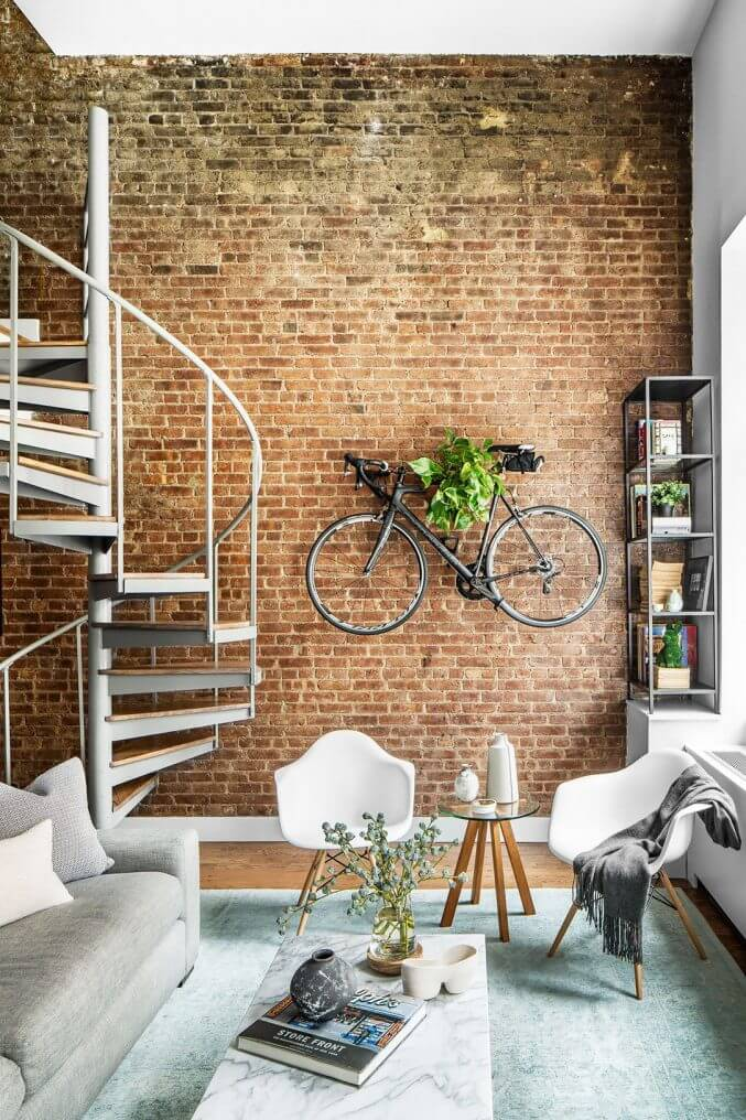 Exposed Brick, Spiral Stair, and Wall Bike