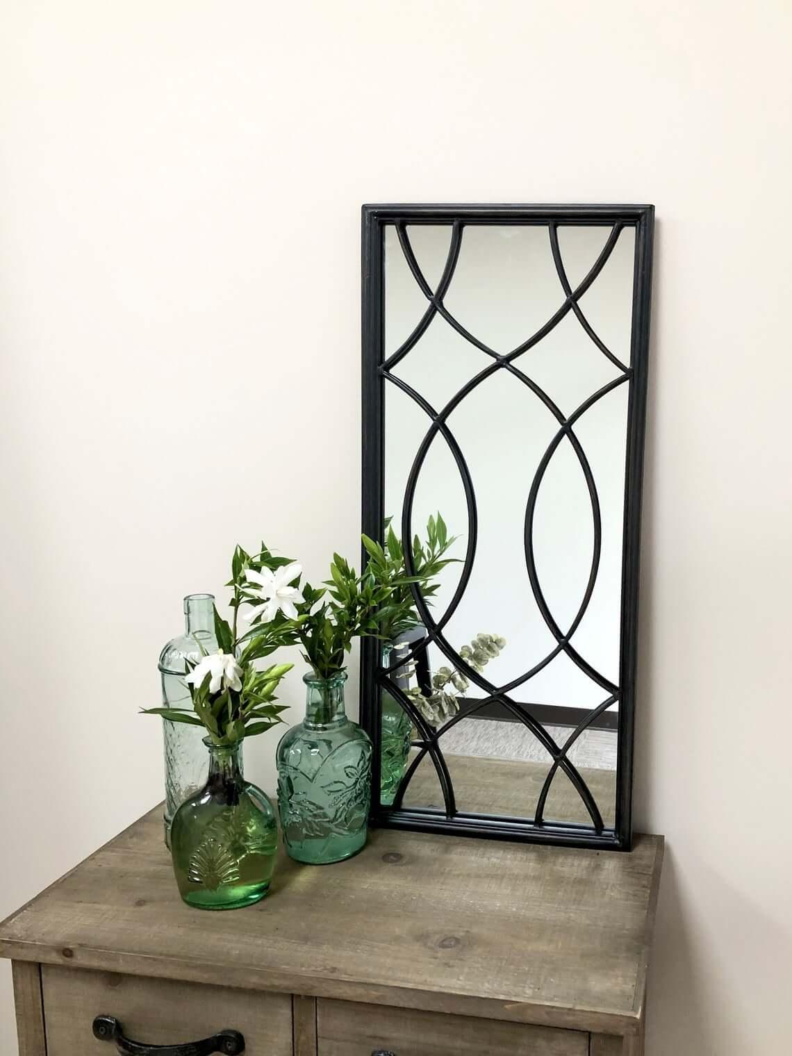 Intricate Black Geometric Overlay Decorative Mirror