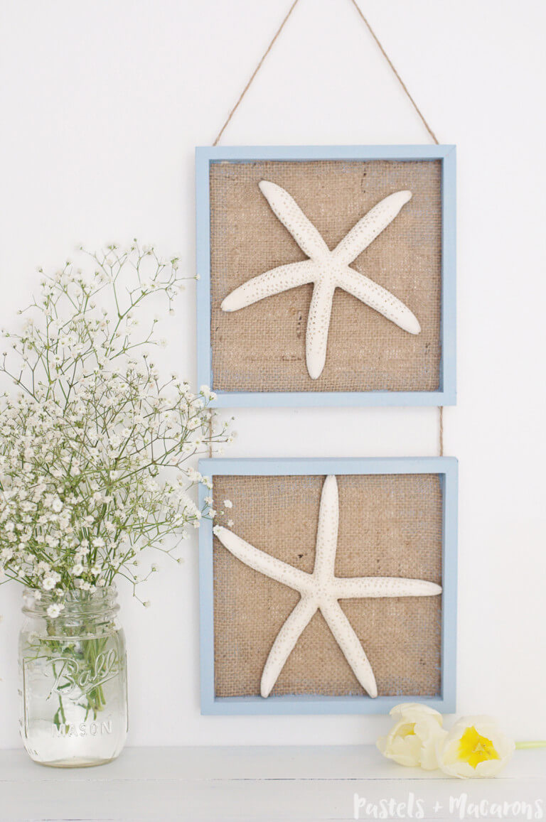 Starfish Shadow Boxes with Burlap