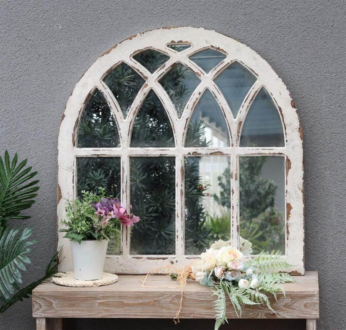 Antique Cathedral Church Vintage Window Pane Mirror