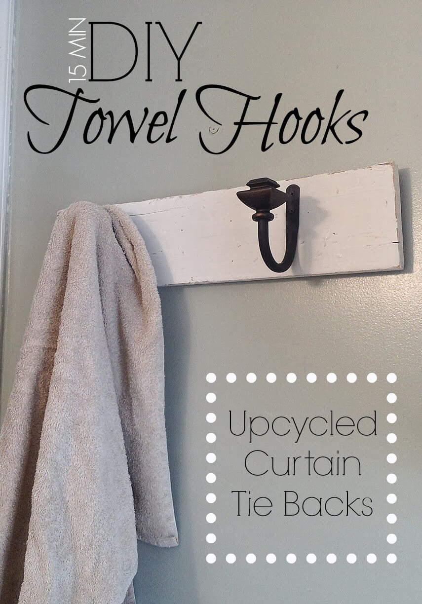 Upcycled Curtain Tie Backs to Towel Hooks