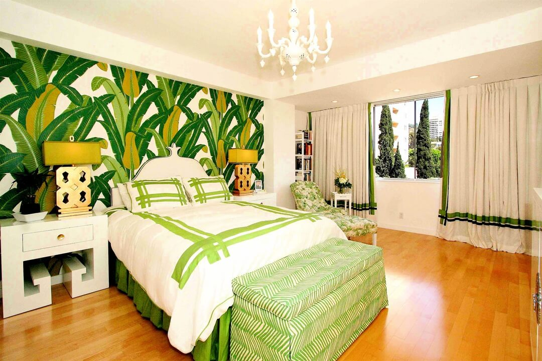Grand Green and White Bedroom with Wallpaper
