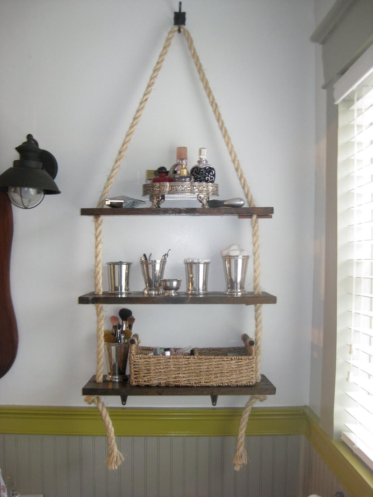 Hanging Bathroom Shelf with Nautical Rope — Homebnc