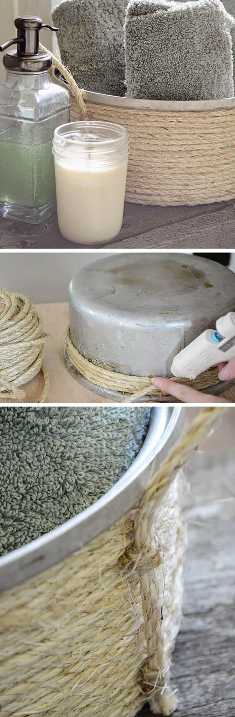 Rustic DIY Sisal Rope Towel Tote