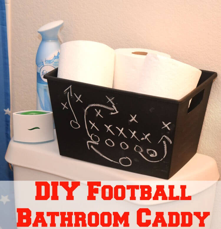 The Sports Fan's Chalkboard Painted Bathroom Organizer