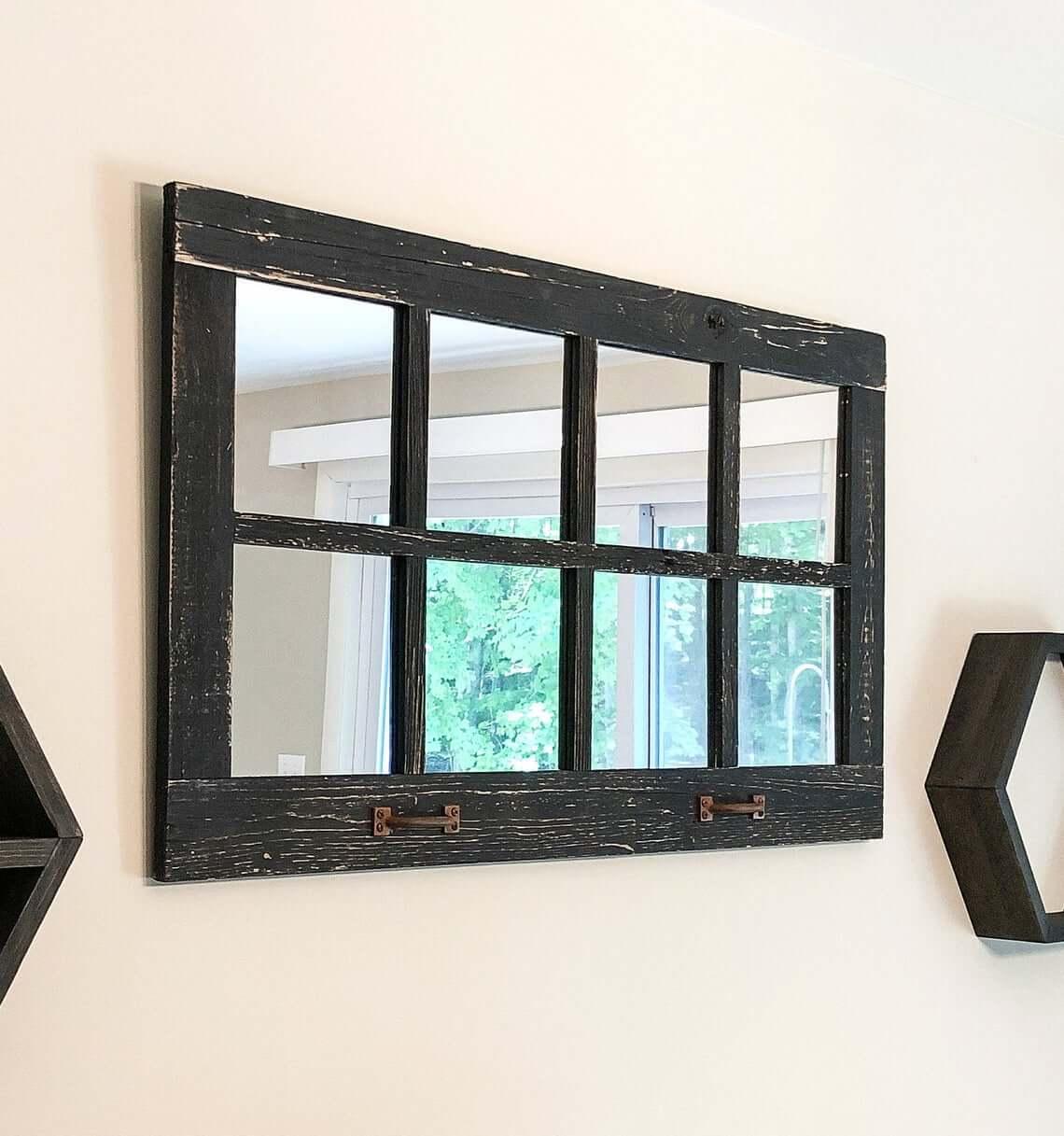 Distressed and Worn Black Window Pane Mirror