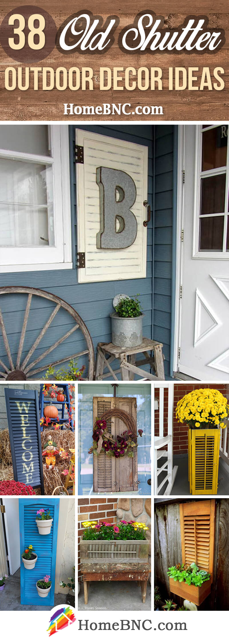 Old Shutter Outdoor Decor Ideas