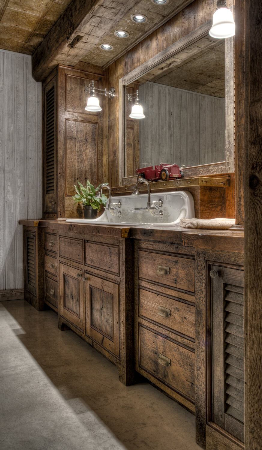 Rustic Bathroom Vanity Idea with Dark Wood