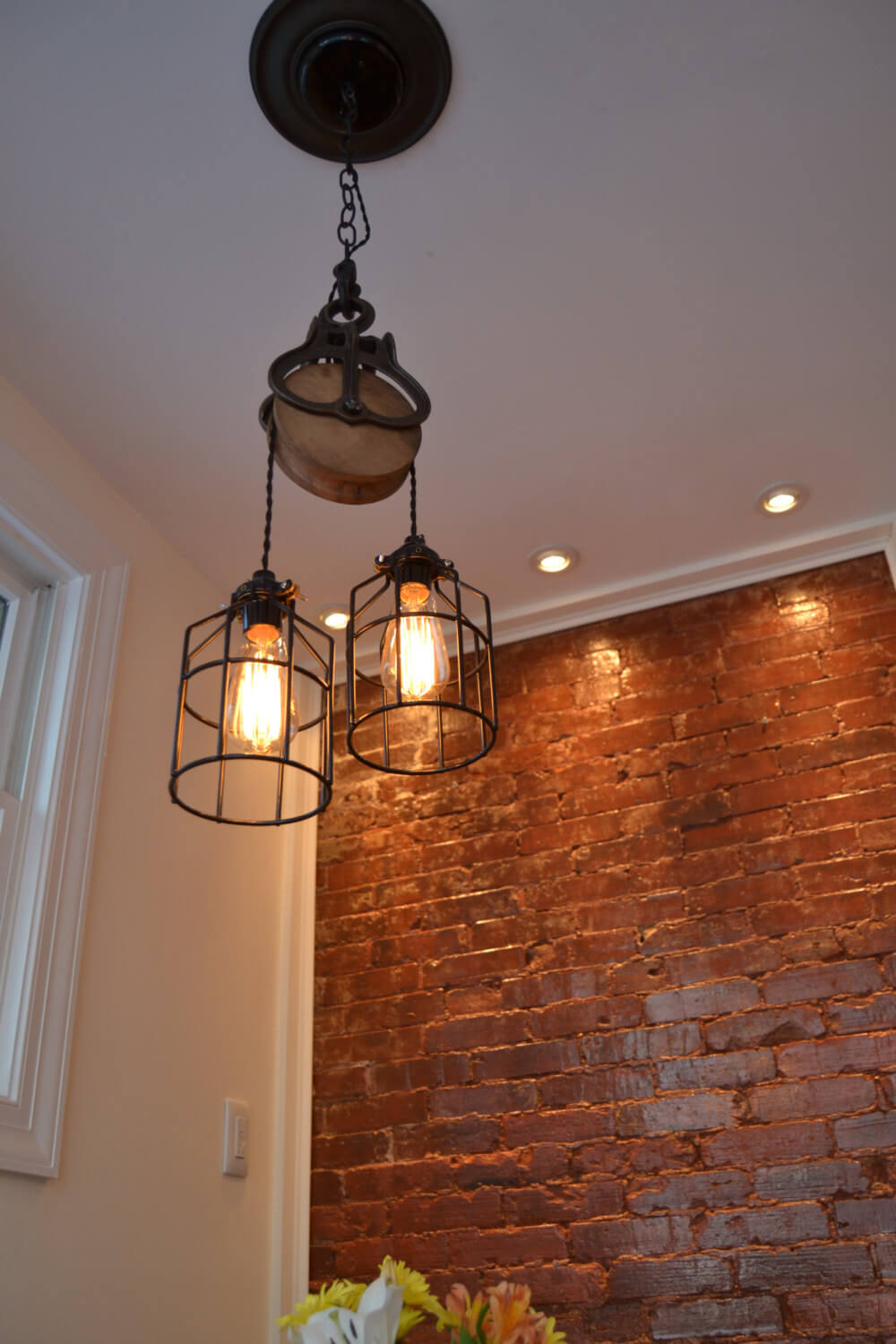 Barn Pulley Makes Perfect Hanging Lamp