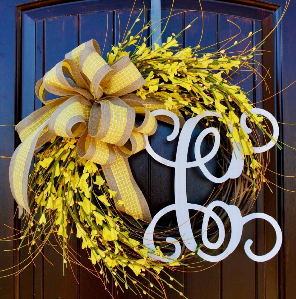 Sunny Forsythia Monogram Wreath