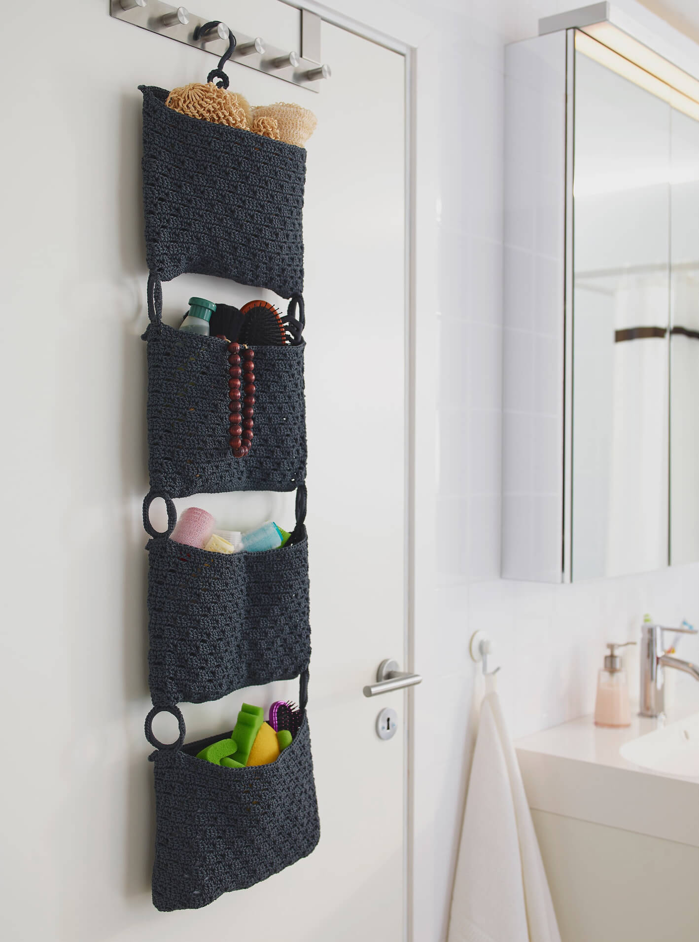 Long Door Hanging Bathroom Storage & 45 Best Hanging Bathroom Storage Ideas for 2018