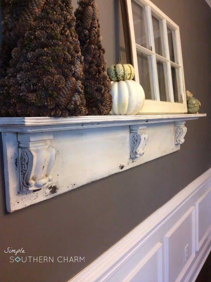 Wooden Scroll Mantel Shelf With Seasonal Accents