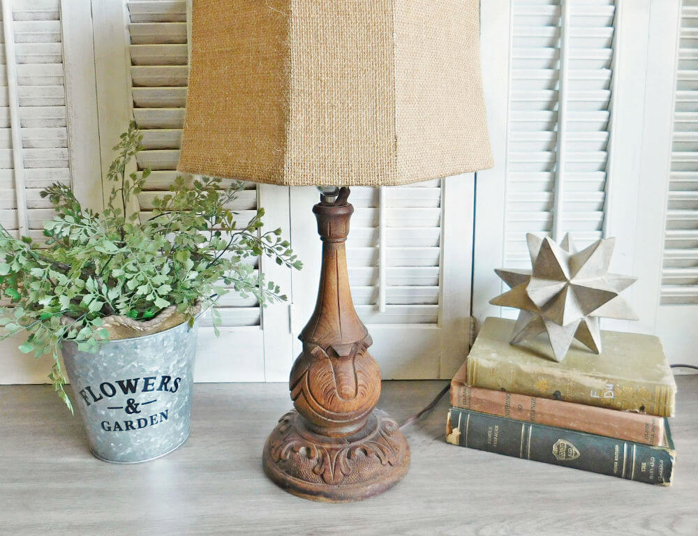 Intricately Carved Raw Wood Lamp Base