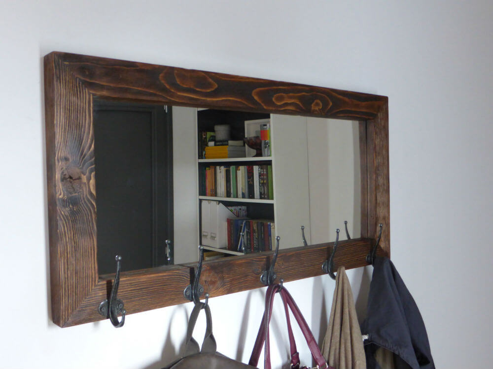 Rustic Mirror and Coat Rack Combined
