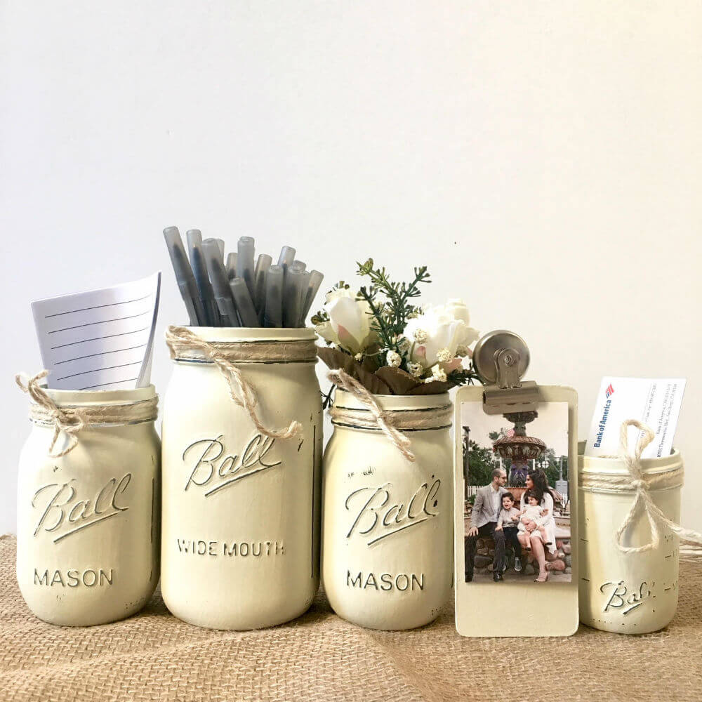 Rustic Ball Jar Desk Organizers