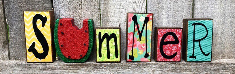 Adorned Wooden Scrapbook Blocks