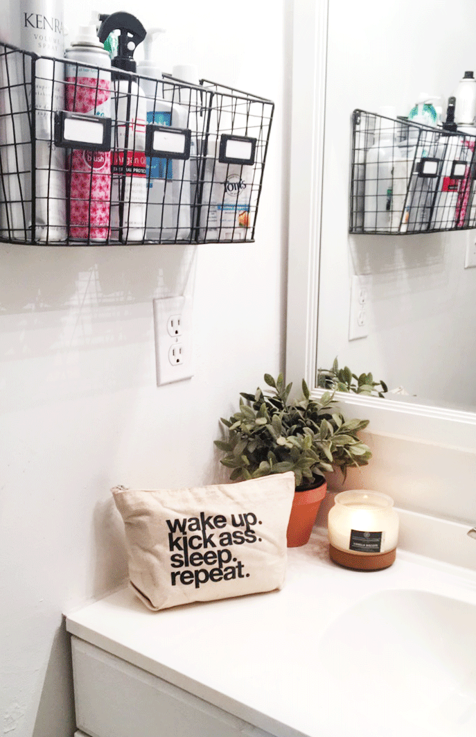 Minimal Wire Basket Bathroom Organizer