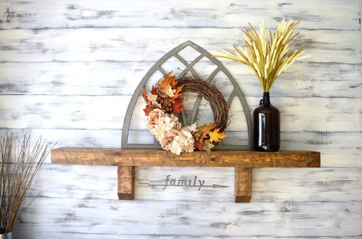 Rustic Wooden Shelf With Vase and Wreath