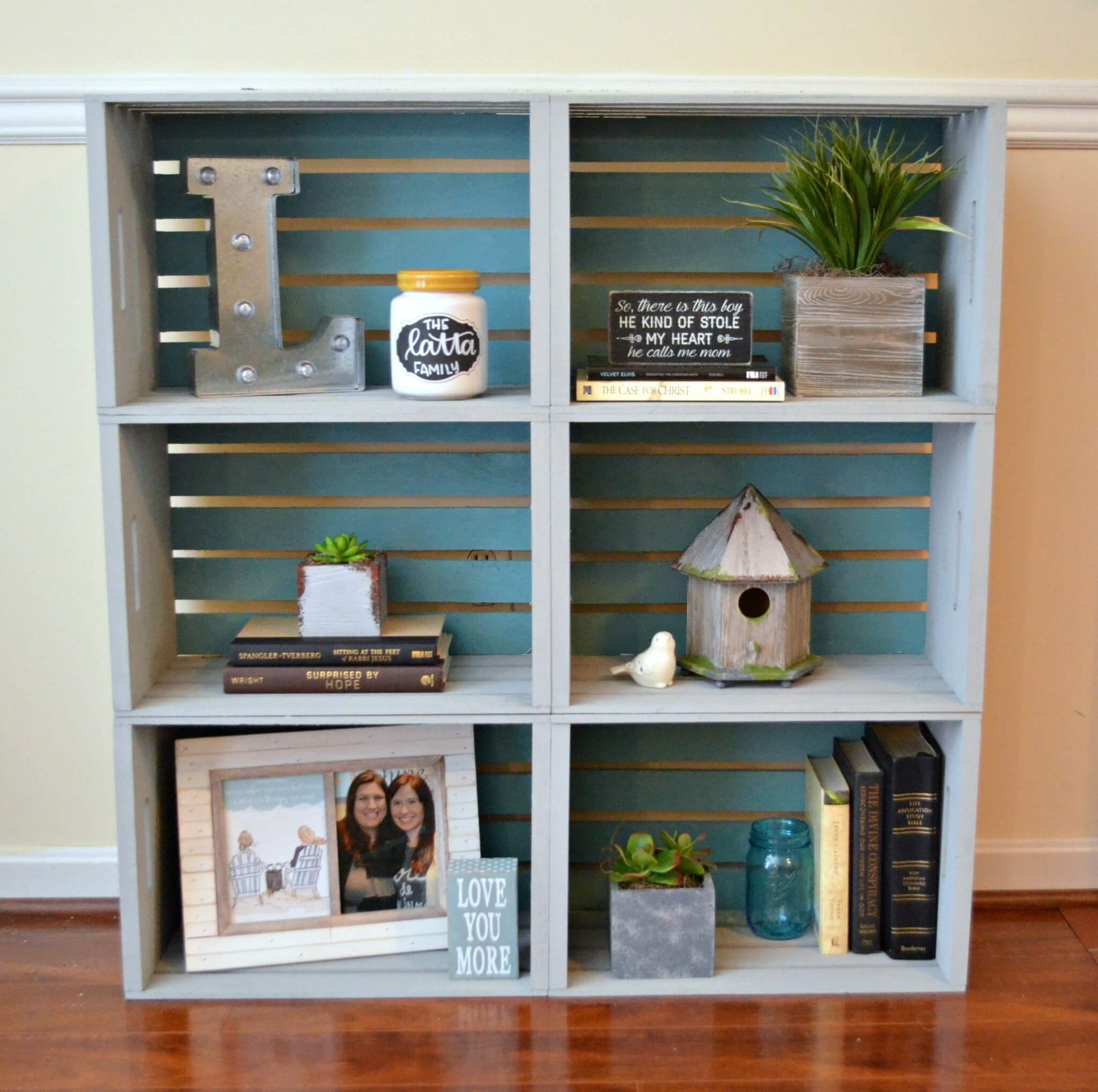 Simply Stacked DIY Wood Crate Bookcase