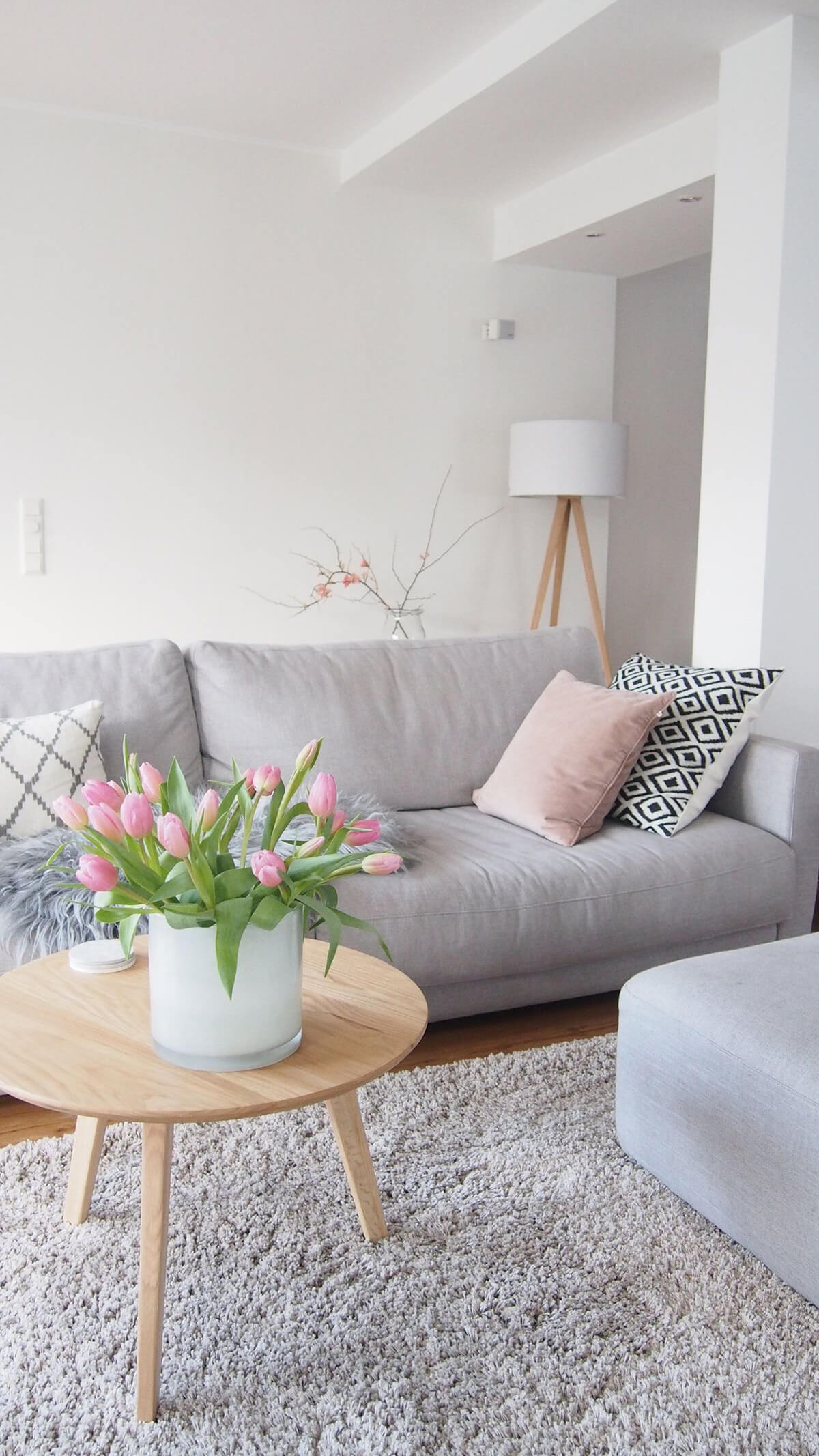Gray, Light Wood and Pink Livingroom Accents