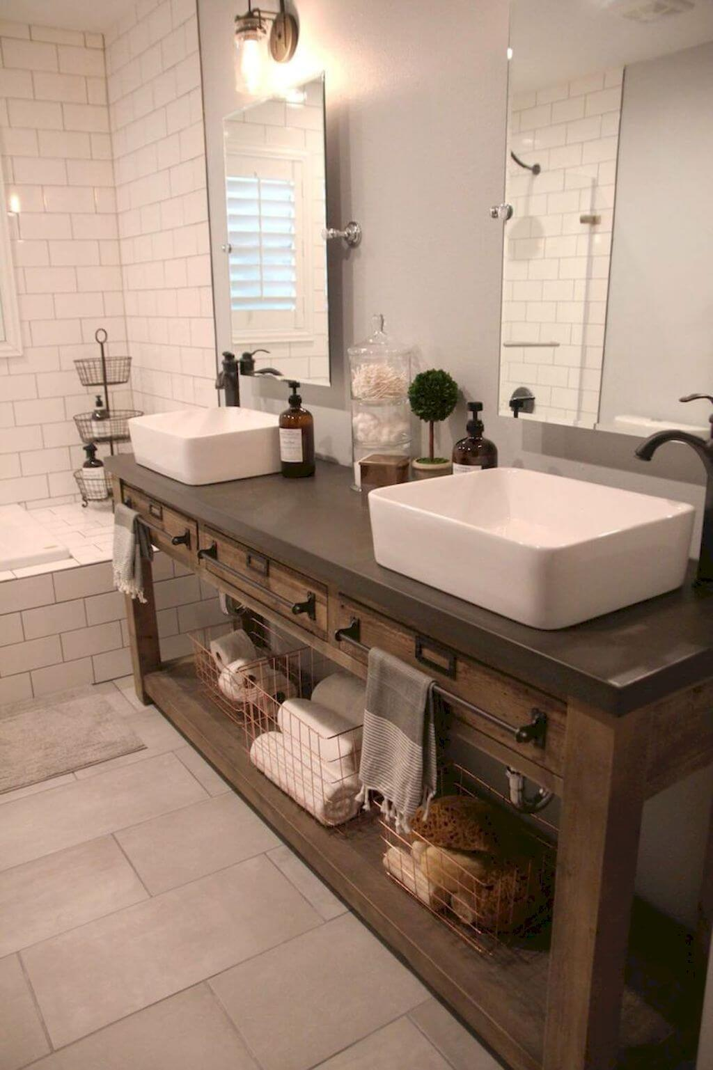 35 best rustic bathroom vanity ideas and designs for 2019 - Pictures of vanities in bathrooms ...