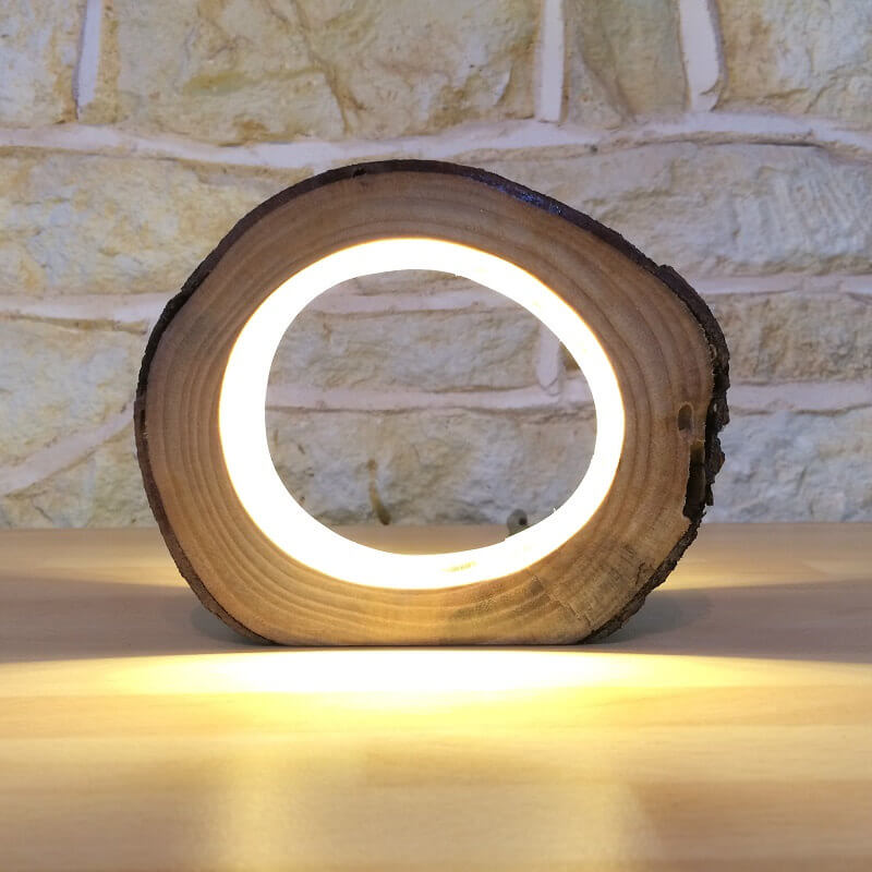 Real Hallowed Wooden LED Small Lamp