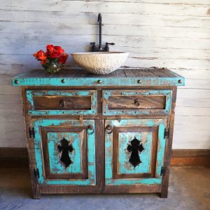 Distressed Teal and Brown Vanity