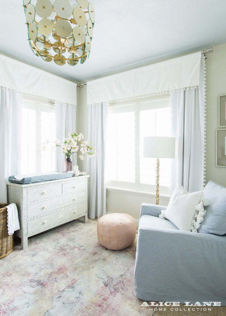 Crisp White Window Treatments, Rosy Marbled Rug