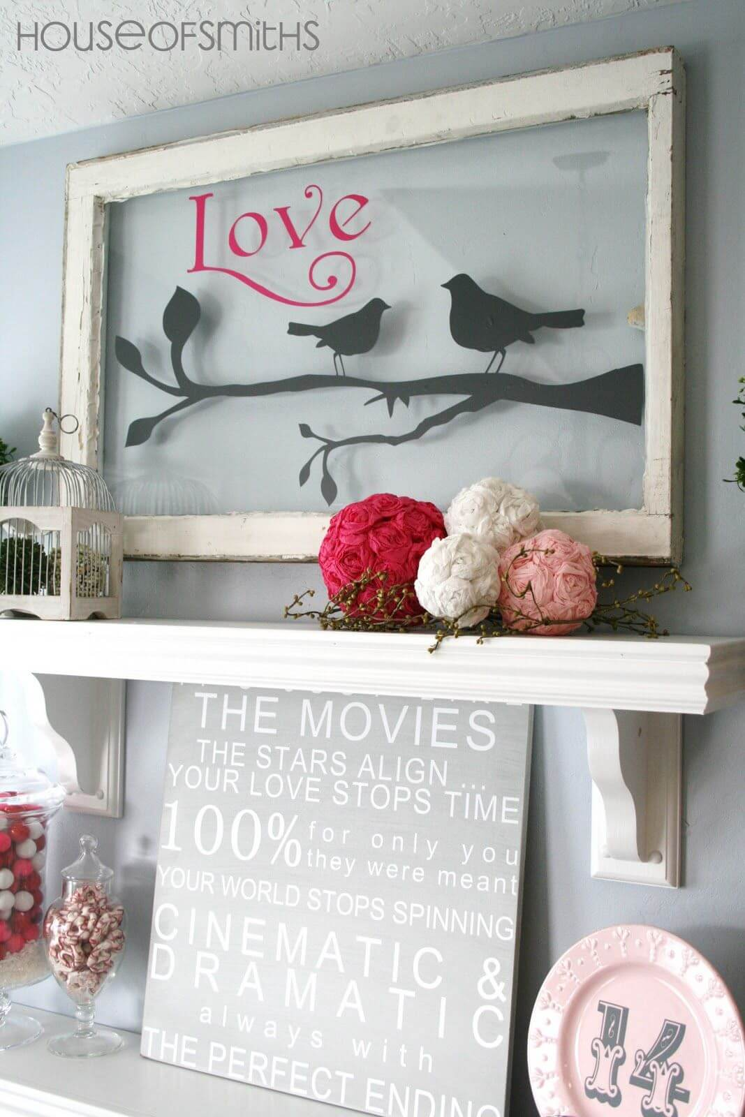 Traditional White Mantel Shelf Framed Art and Flowers