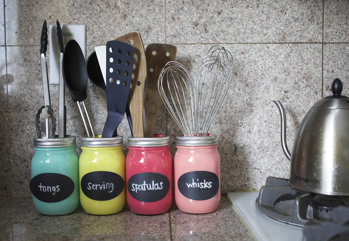 Mason Jar Organizer Idea For Your Countertop