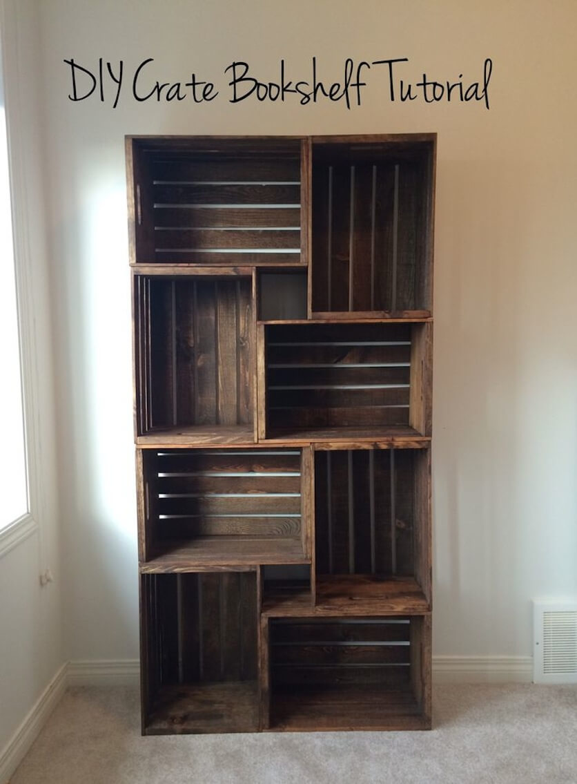 Beautifully Rustic DIY Crate Bookshelf