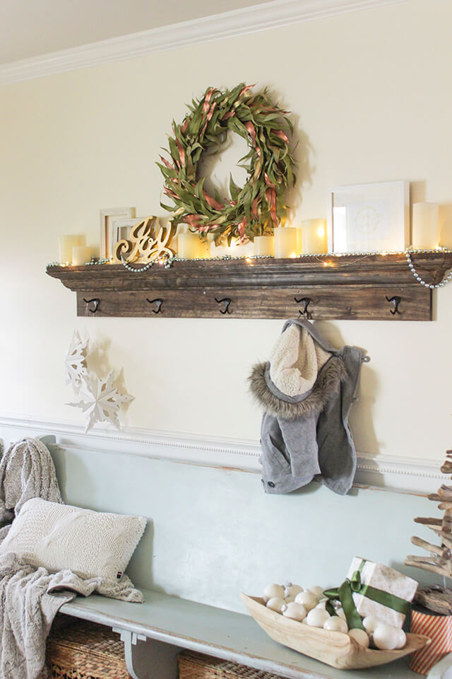 Wooden Mantel Shelf With Storage Hooks