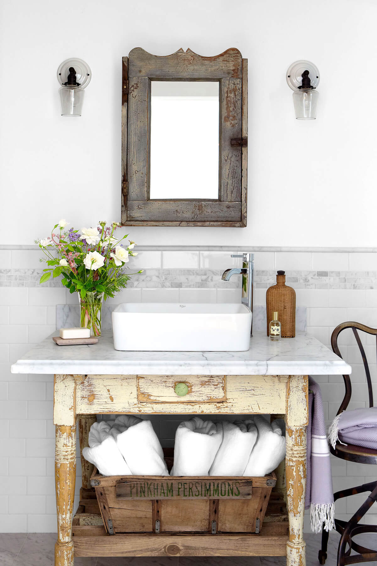 Light wood distressed small bathroom toilet table
