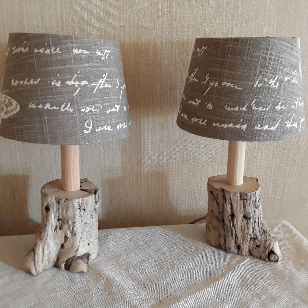 Simply Elegant Driftwood and Linen Table Lamp
