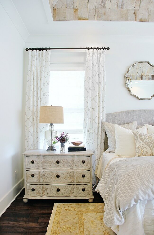 Patterned White, Antique Yellow, and Custom Mirror