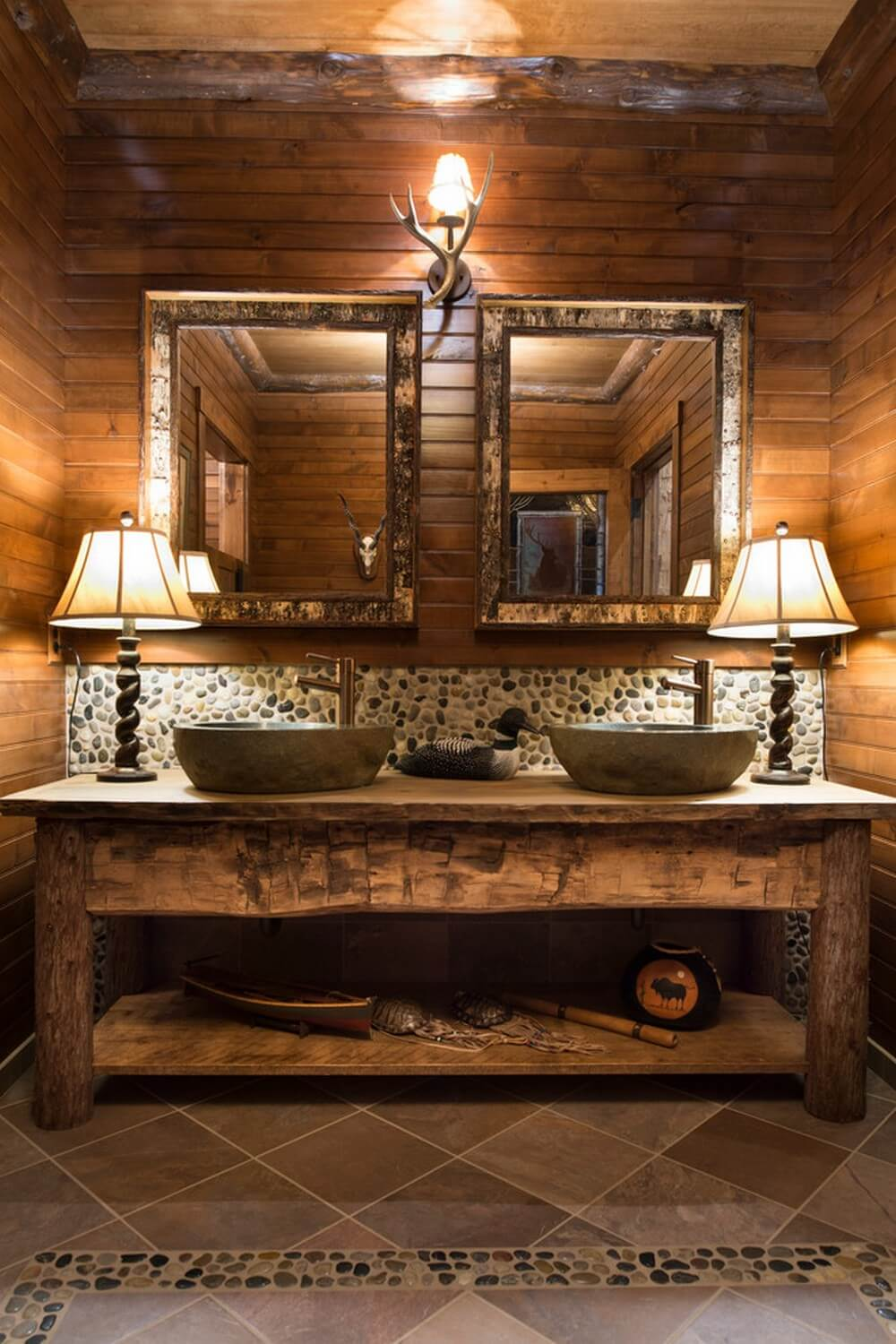 Dark Rustic Bathroom Table with Bowl Sinks