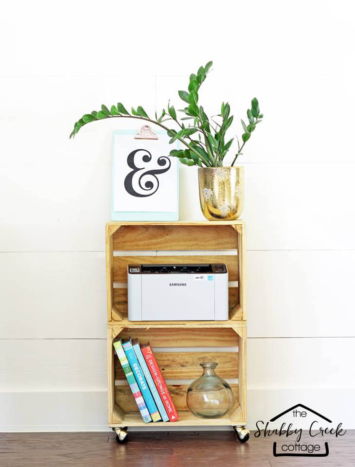 Stylish DIY Wheeled Wooden Crate Cart