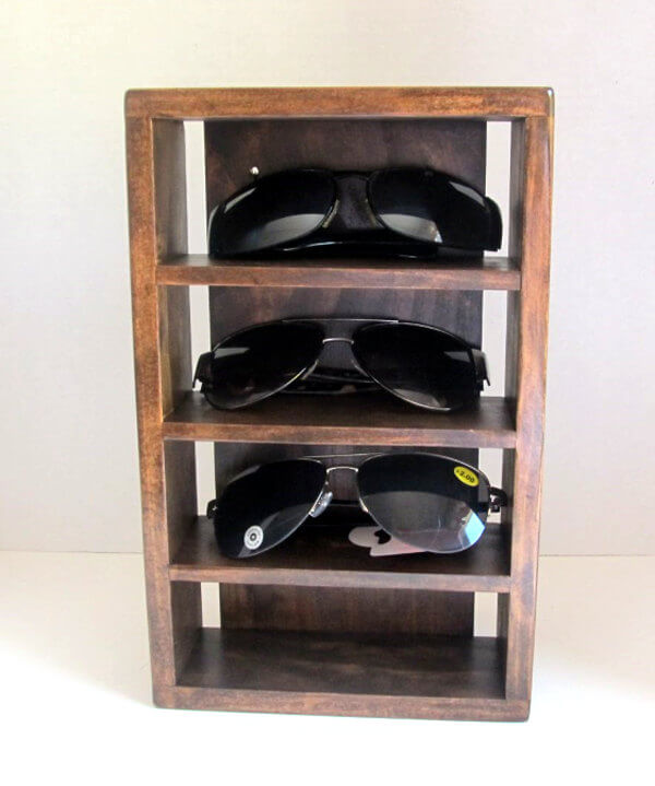 Simple Rustic Sunglasses Holder with Wall Mount