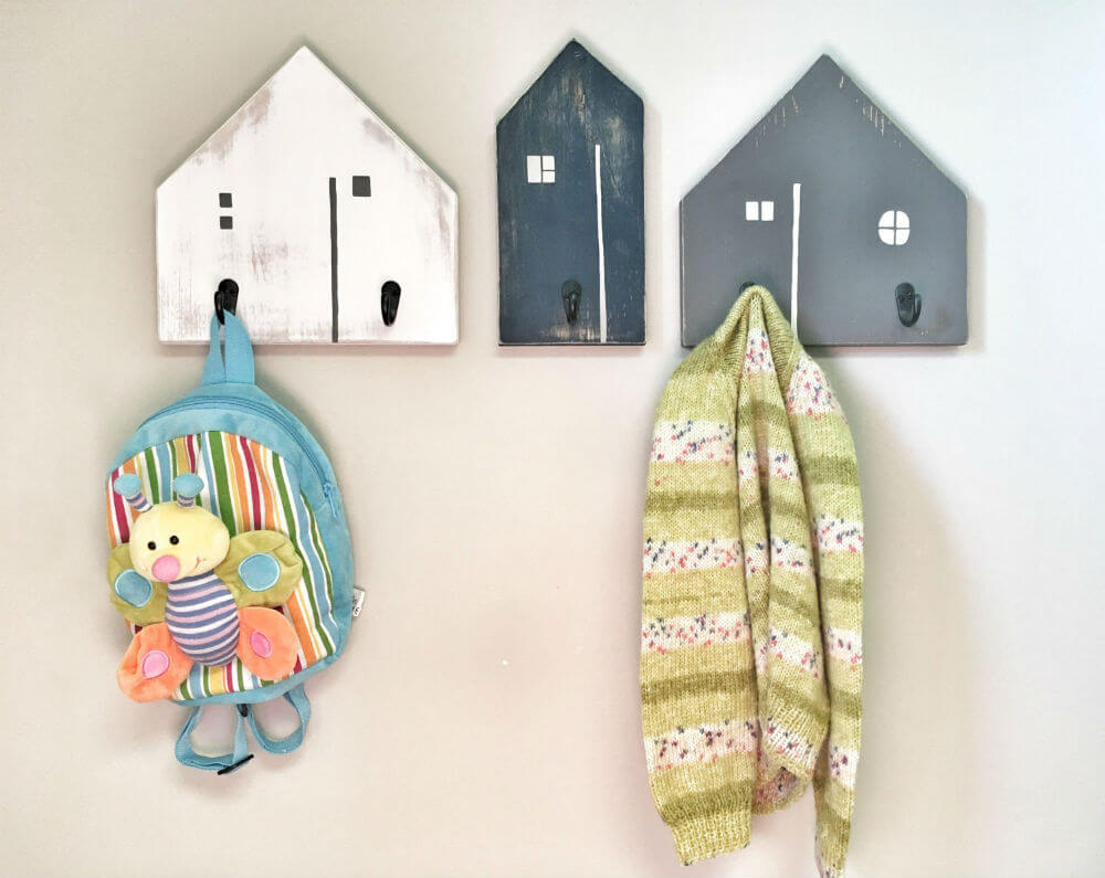 Wooden Painted House Entryway Hooks