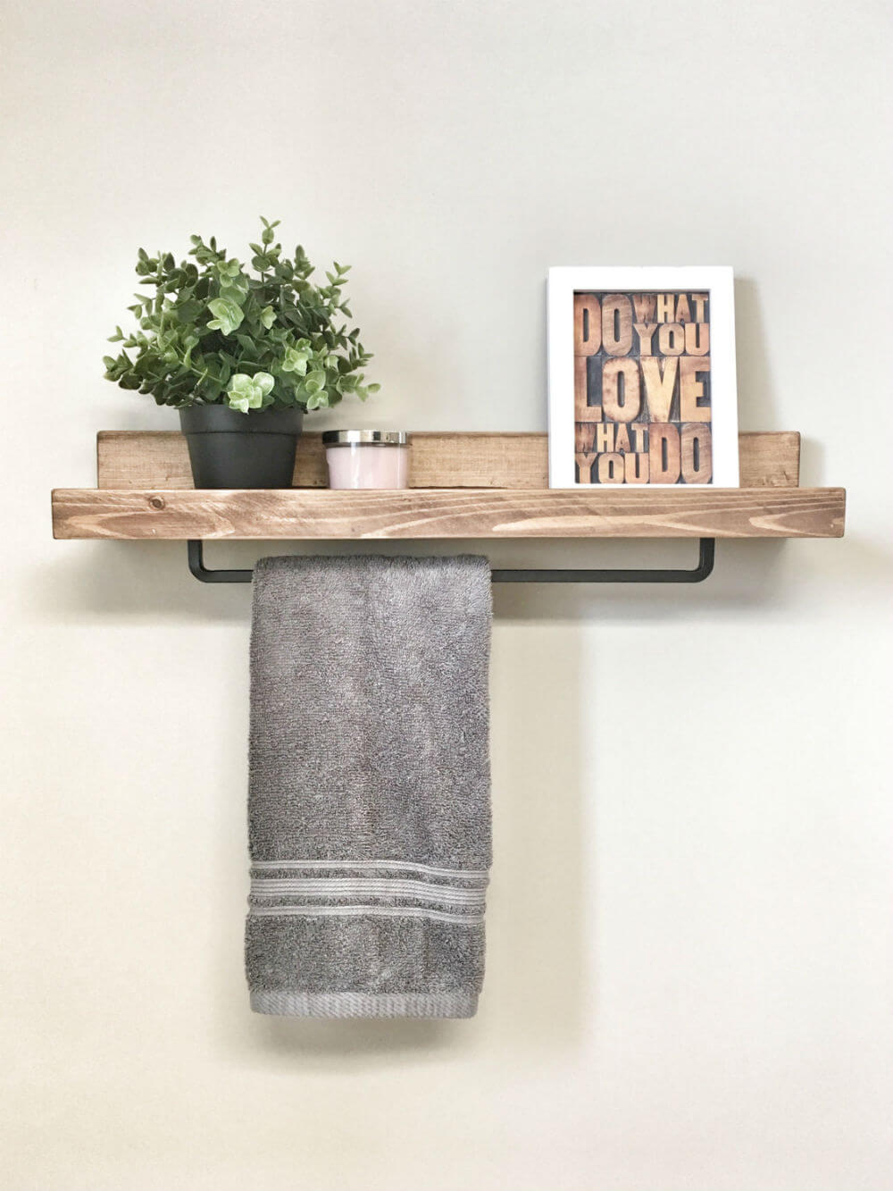 Wooden Floating Shelf with Iron Towel Rack