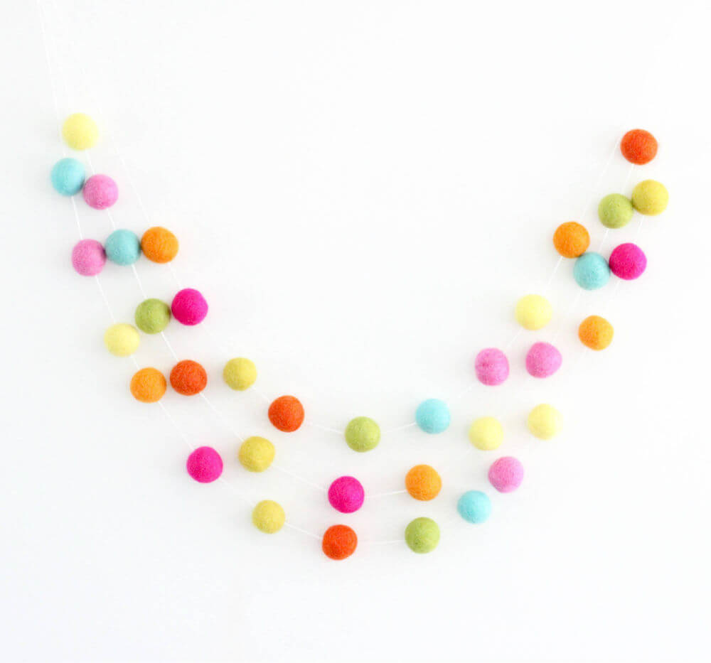 Summery Felt Ball Garland