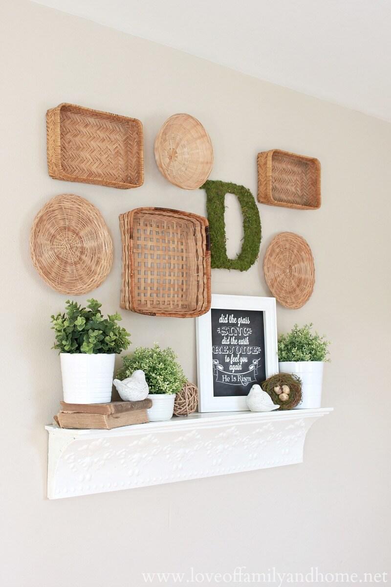 Decorative White Sloped Mantel Shelf and Baskets