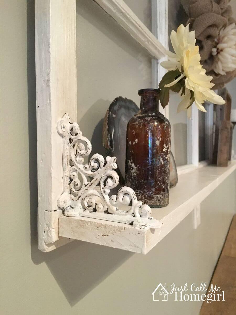 Window Frame Mantel Shelf With Antique Brackets
